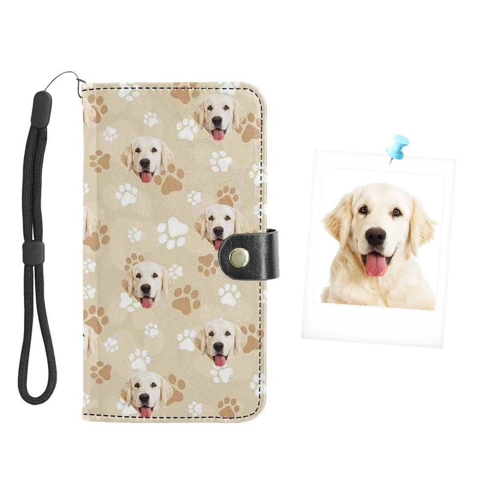 Custom Face Puppy Footprints Flip Leather Purse for Mobile Phone
