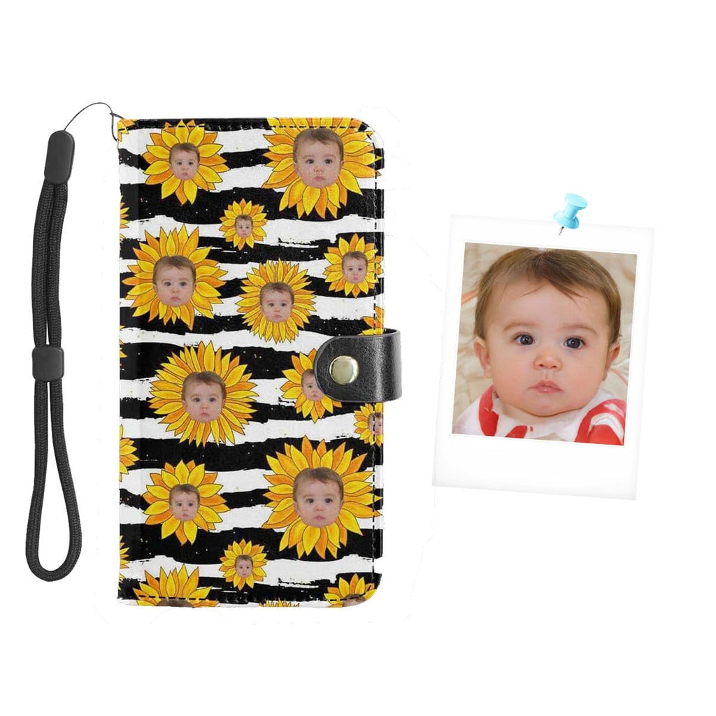 Custom Face Sunflower Baby Flip Leather Purse for Mobile Phone