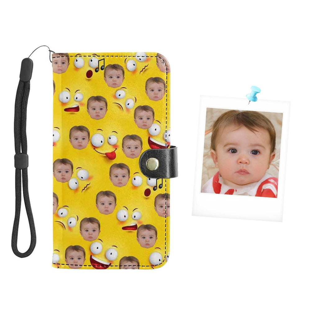 Custom Face Funny Expression Baby Flip Leather Purse for Mobile Phone