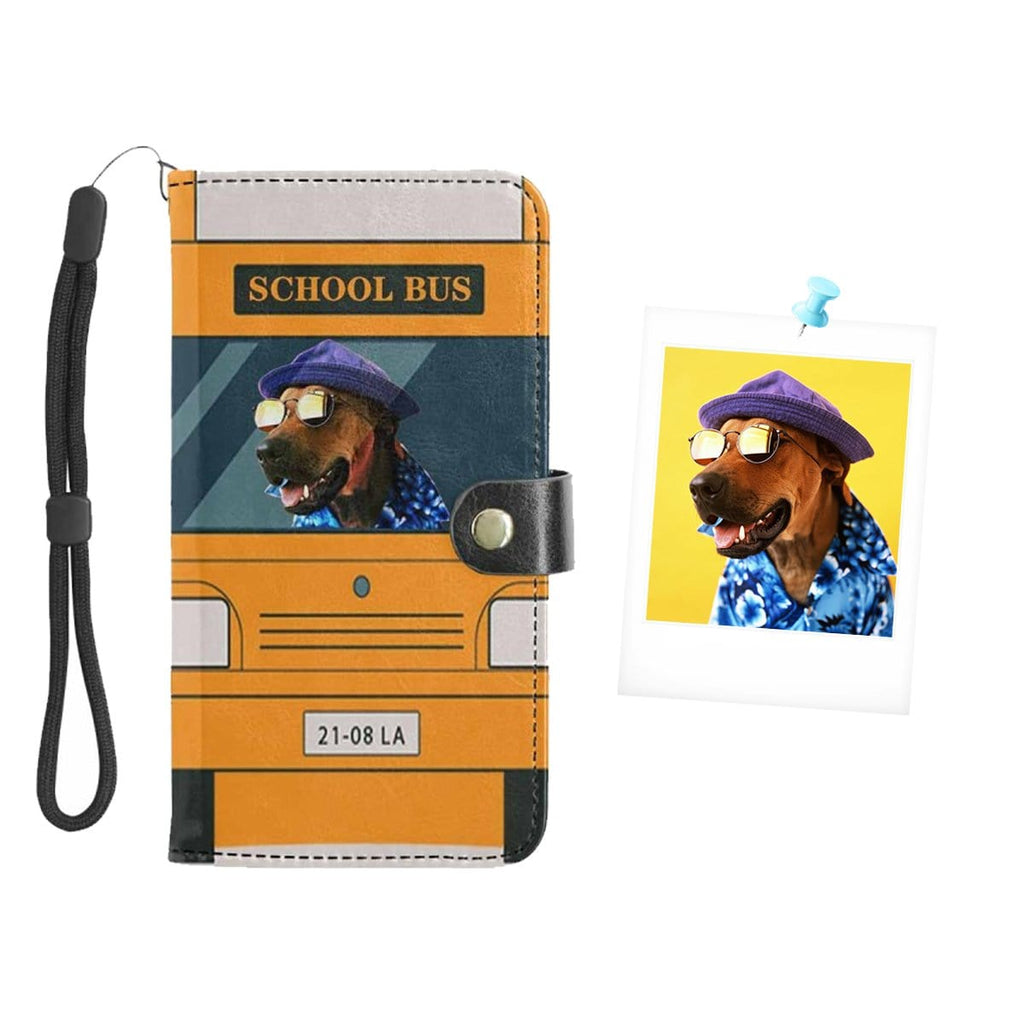 Custom Face School Bus Puppy Flip Leather Purse for Mobile Phone