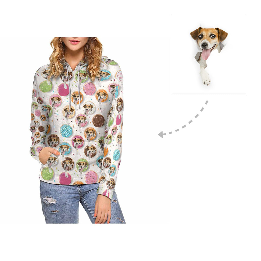 Custom Donuts Dog Face Women's All Over Print Hoodie