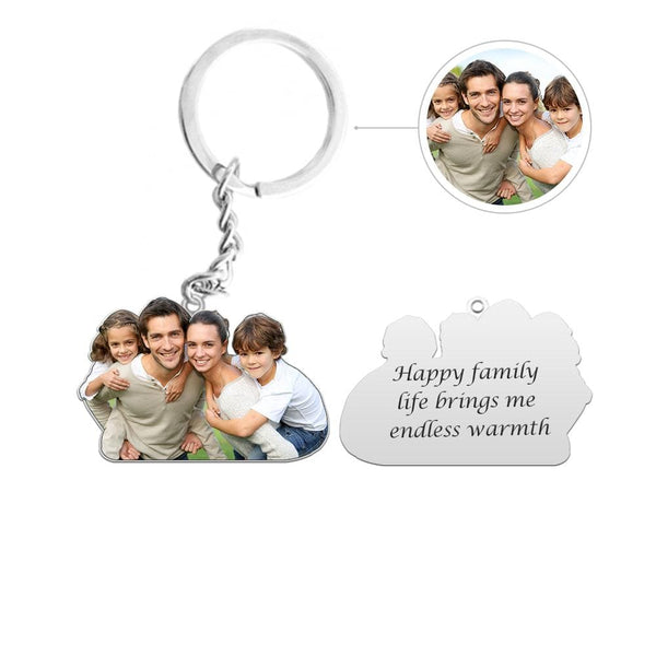 Custom Family Photo Silver Keychain