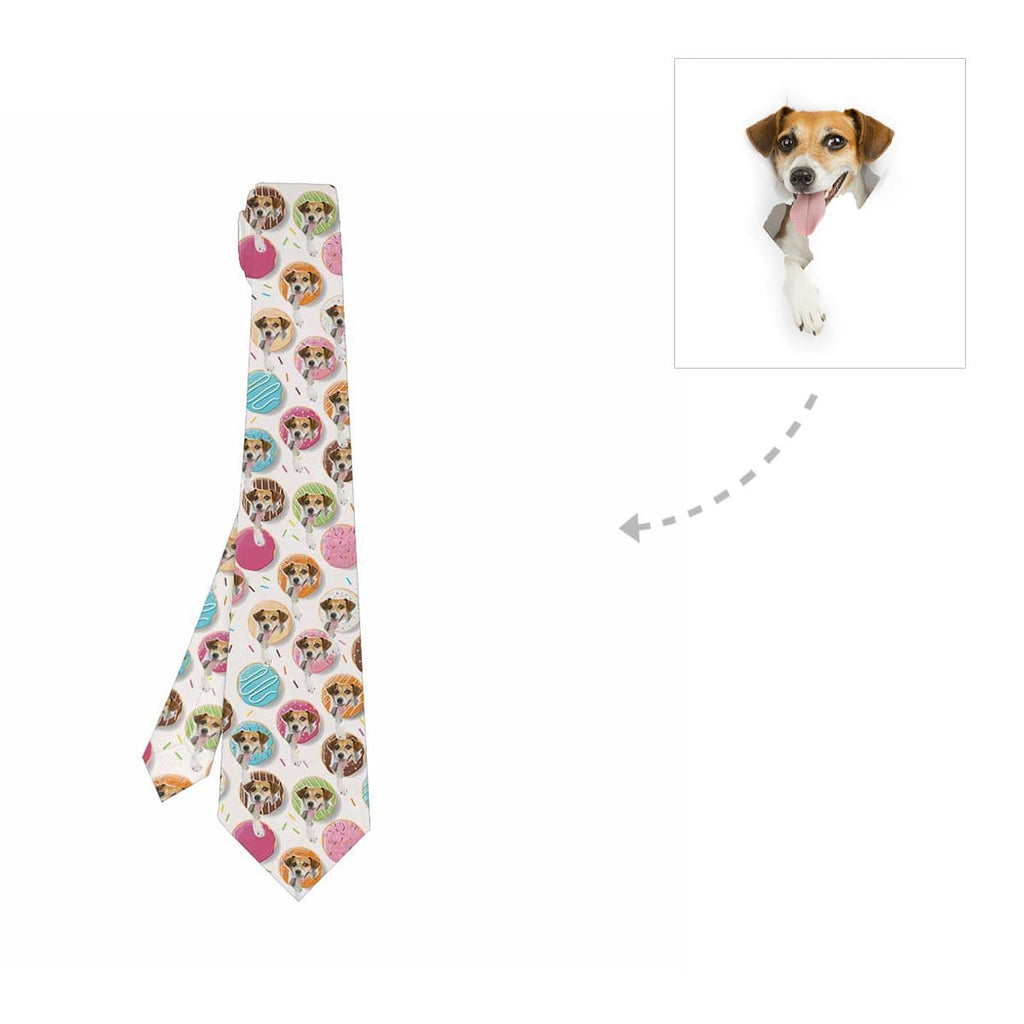 Custom Donuts Dog Face Classic Necktie