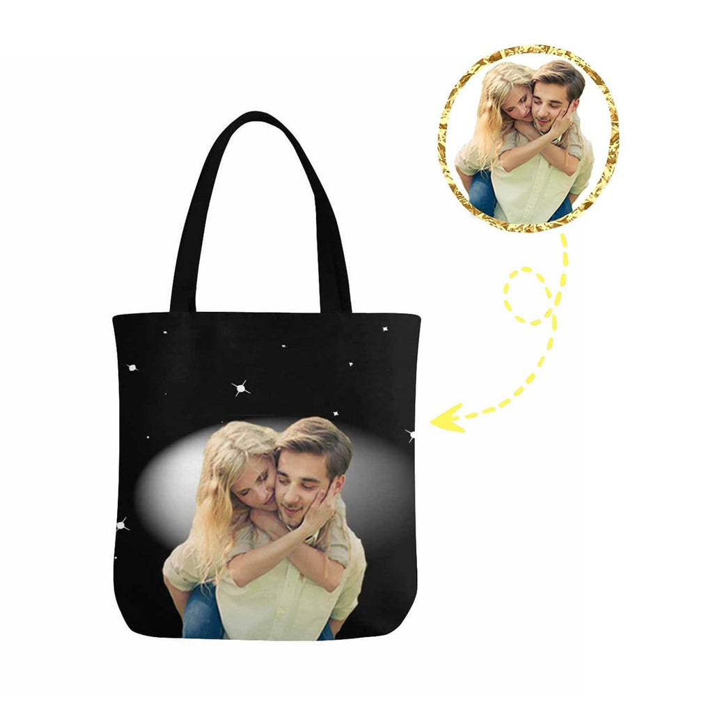 Custom Couple Night Sky Canvas Tote Bag