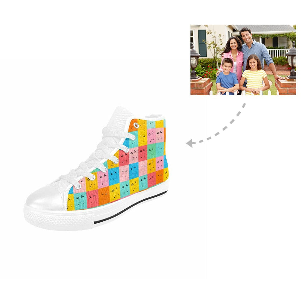 Custom Colorful Family Emoji High Top Canvas Shoes