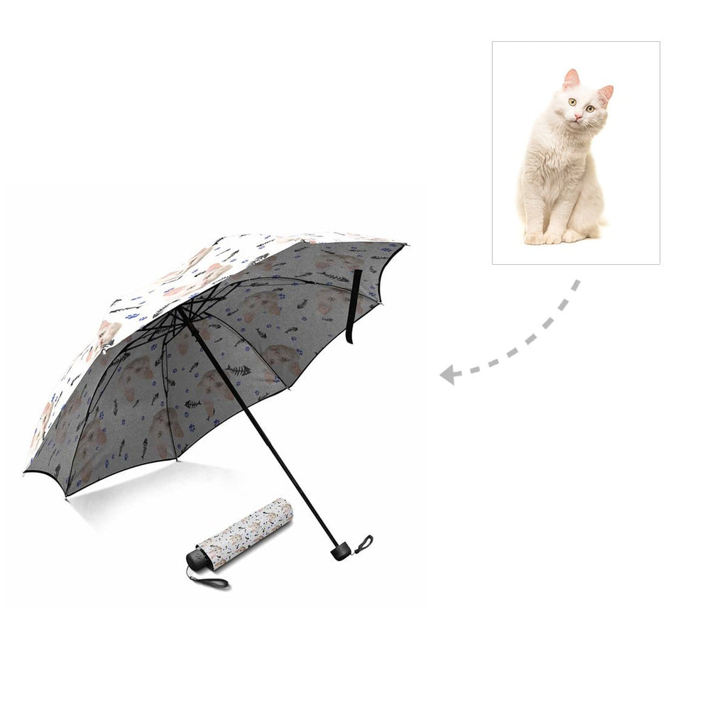 Custom Cat Face Paw and Fish Bone Foldable Umbrella