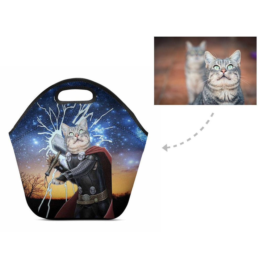 Custom Super Cat Starry Night Neoprene Lunch Bag