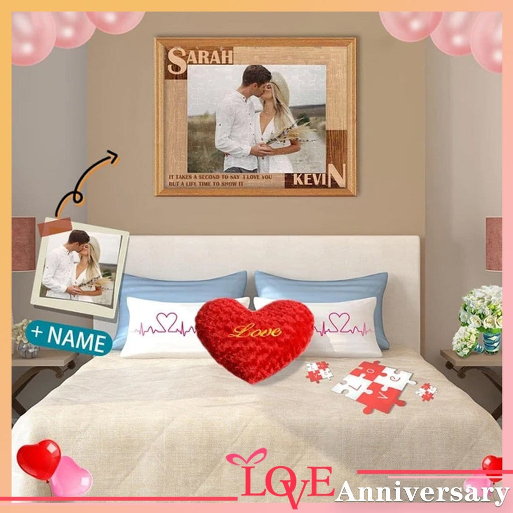 Custom Photo&Name Loving Couple Rectangle Jigsaw Puzzle Best Indoor Gifts 110 Pieces
