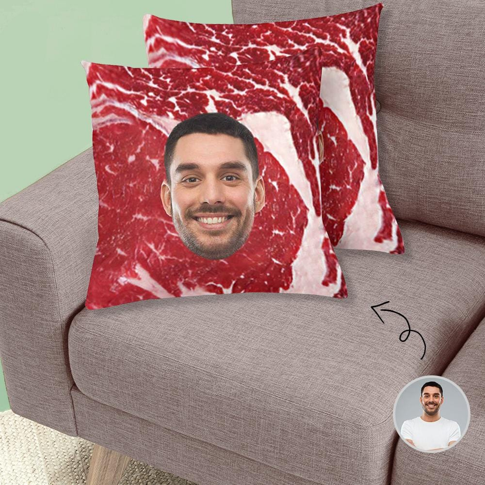"Custom Face Meat Throw Pillow Cover 18""x 18"""