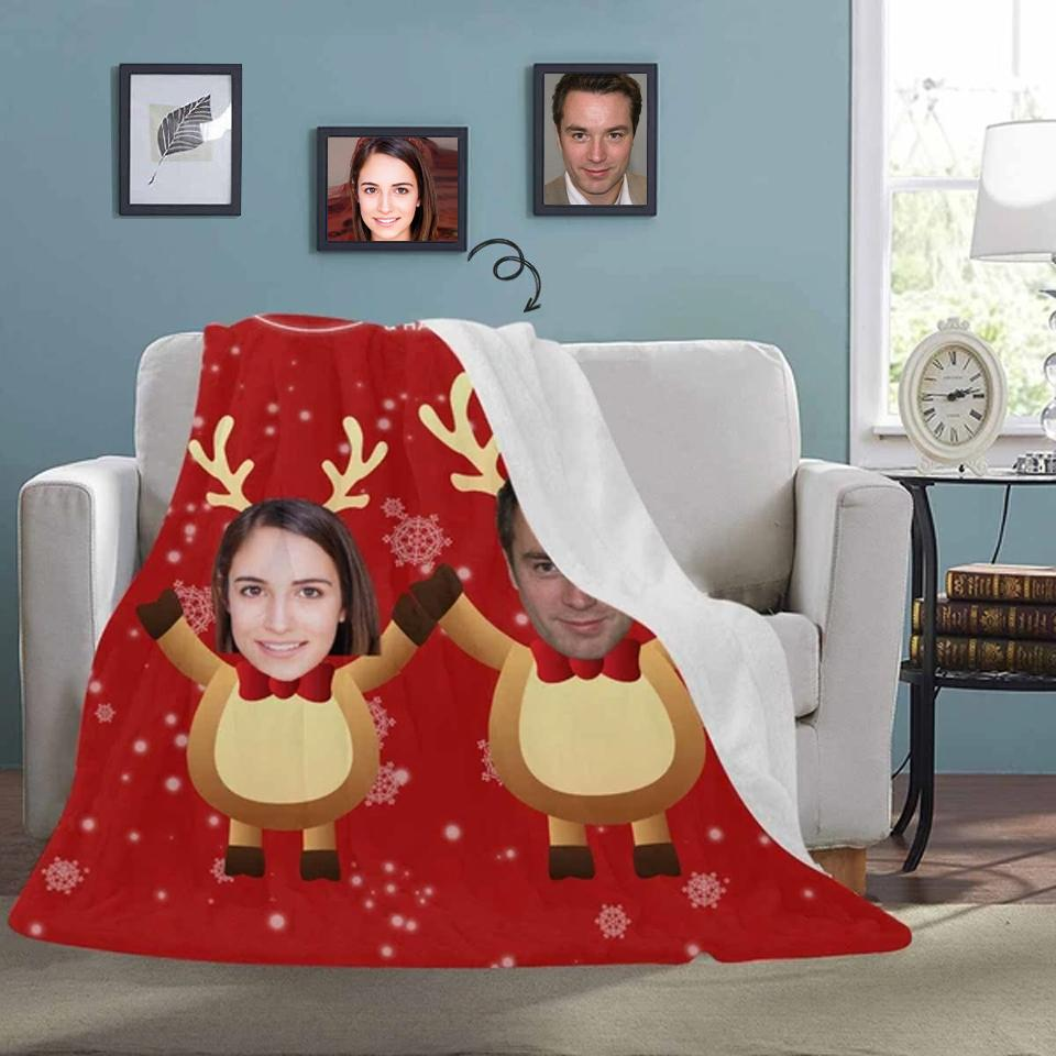 Custom Face Merry Christmas Red Ultra-Soft Micro Fleece Blanket