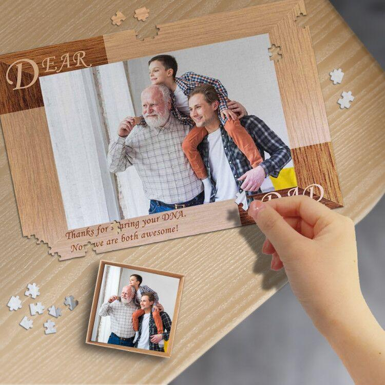 Custom Photo Dear Dad Wooden Photo Puzzle Best Indoor Gifts 500/1000 Pieces