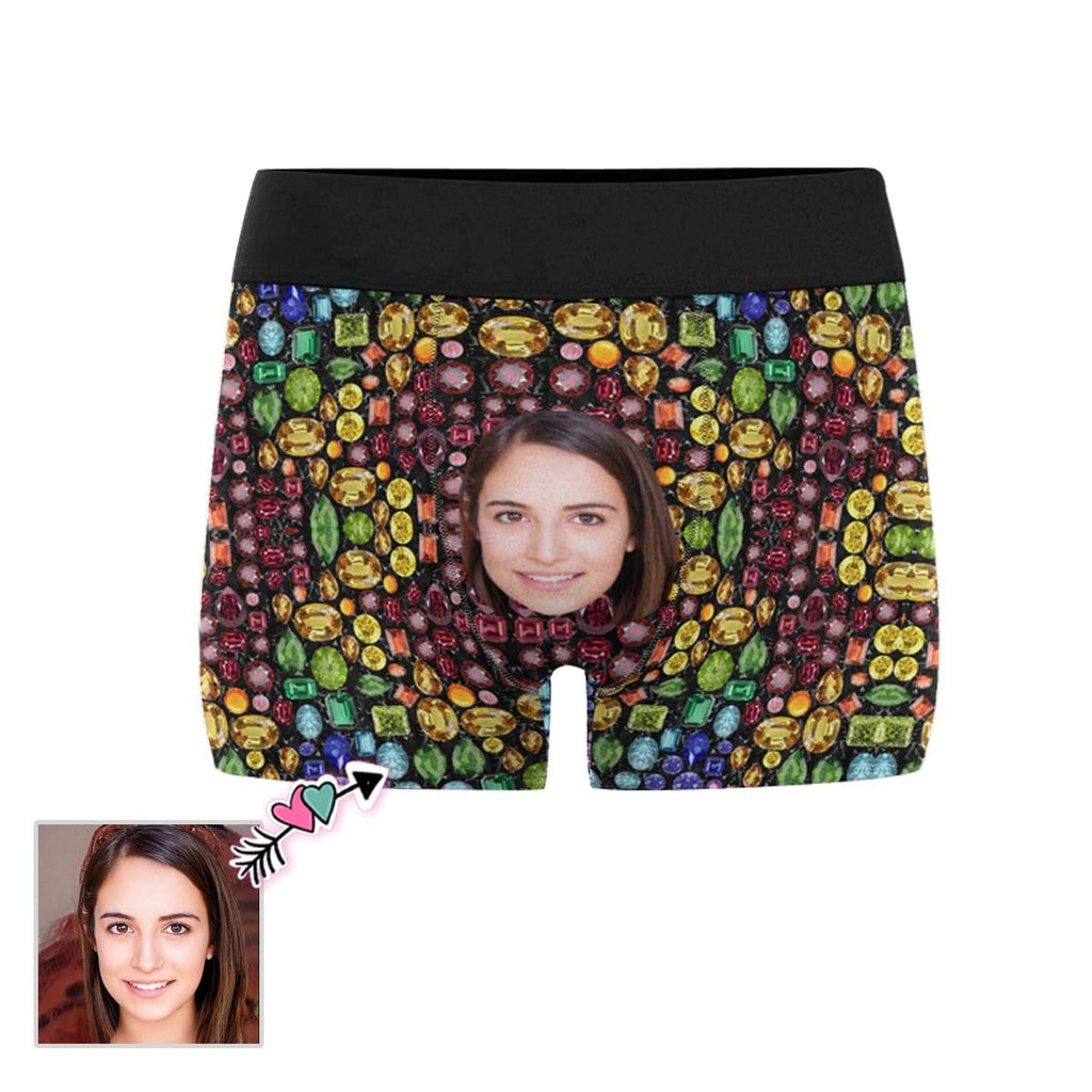 Custom Face Black Gemstone Head Men's All-Over Print Boxer Briefs