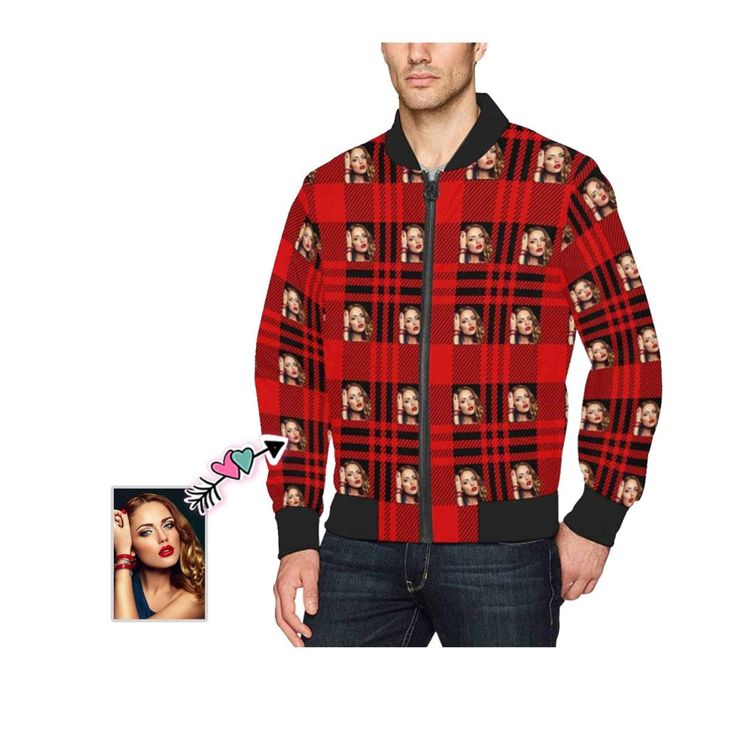 Custom Face Red Plaid Men's Bomber Jacket