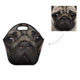 Custom Pug Dog Face Neoprene Lunch Bag