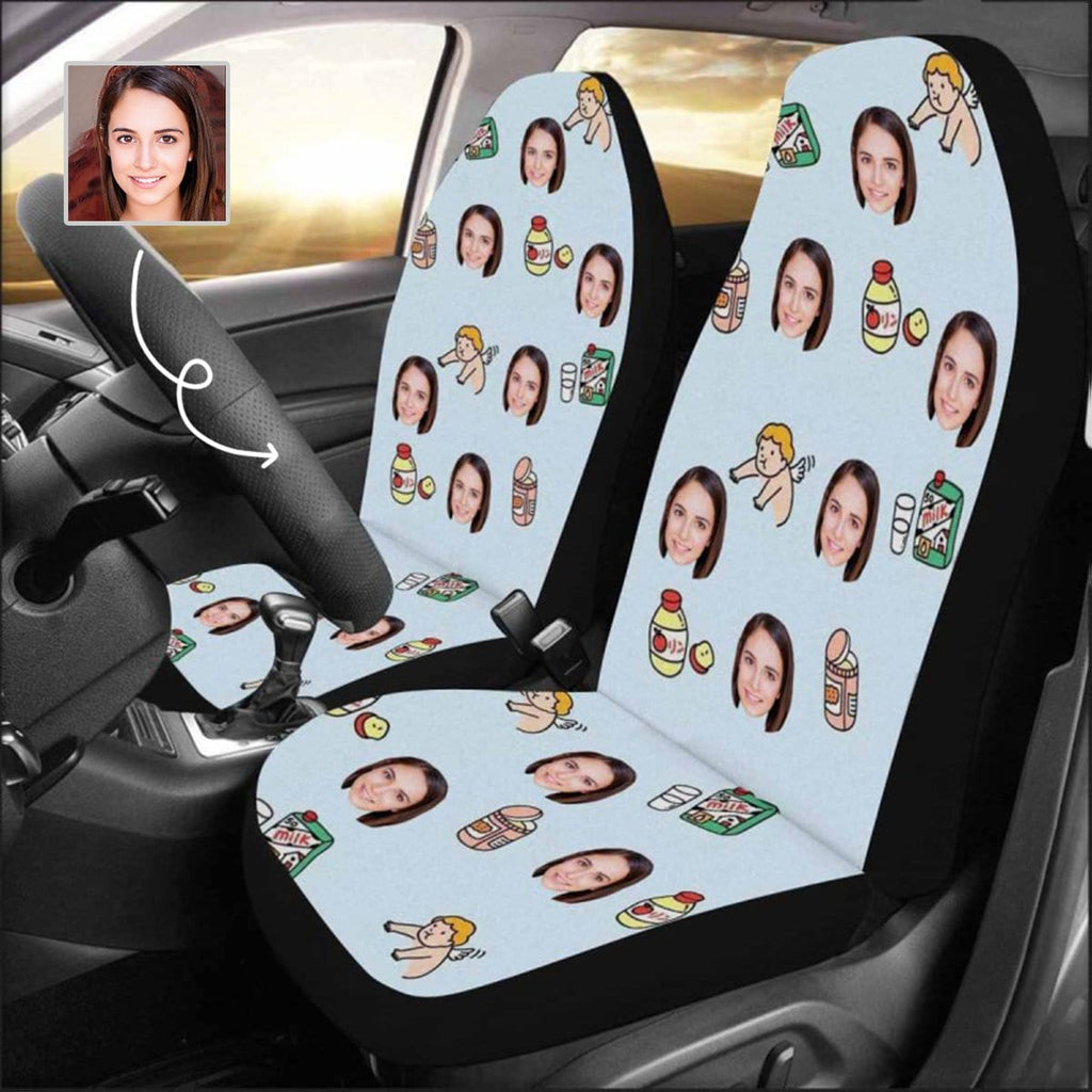 Custom Face Angel Car Seat Covers (Set of 2)