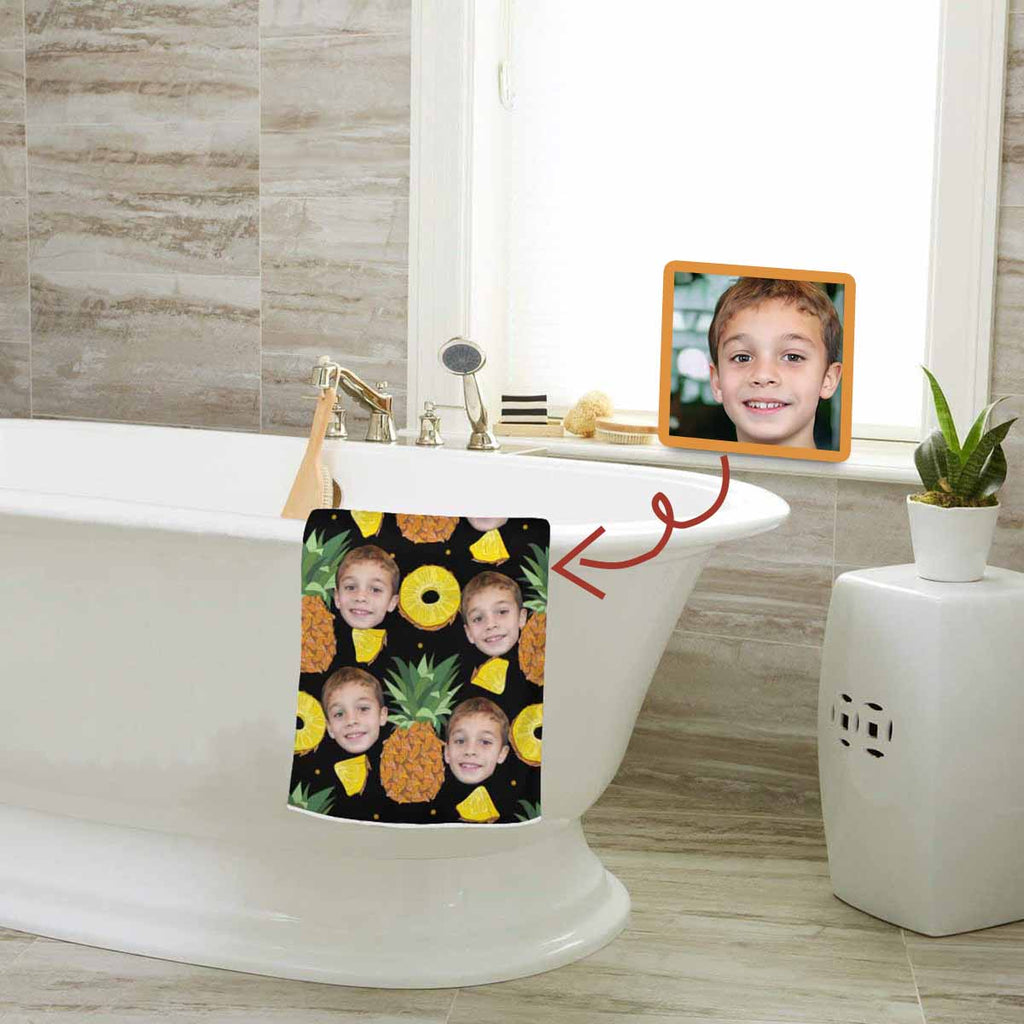 Custom Son Face Pineapple Black Bath Towel