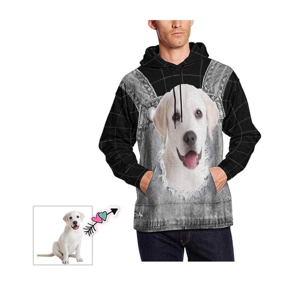 Custom Face Pet Black Men's All Over Print Hoodie