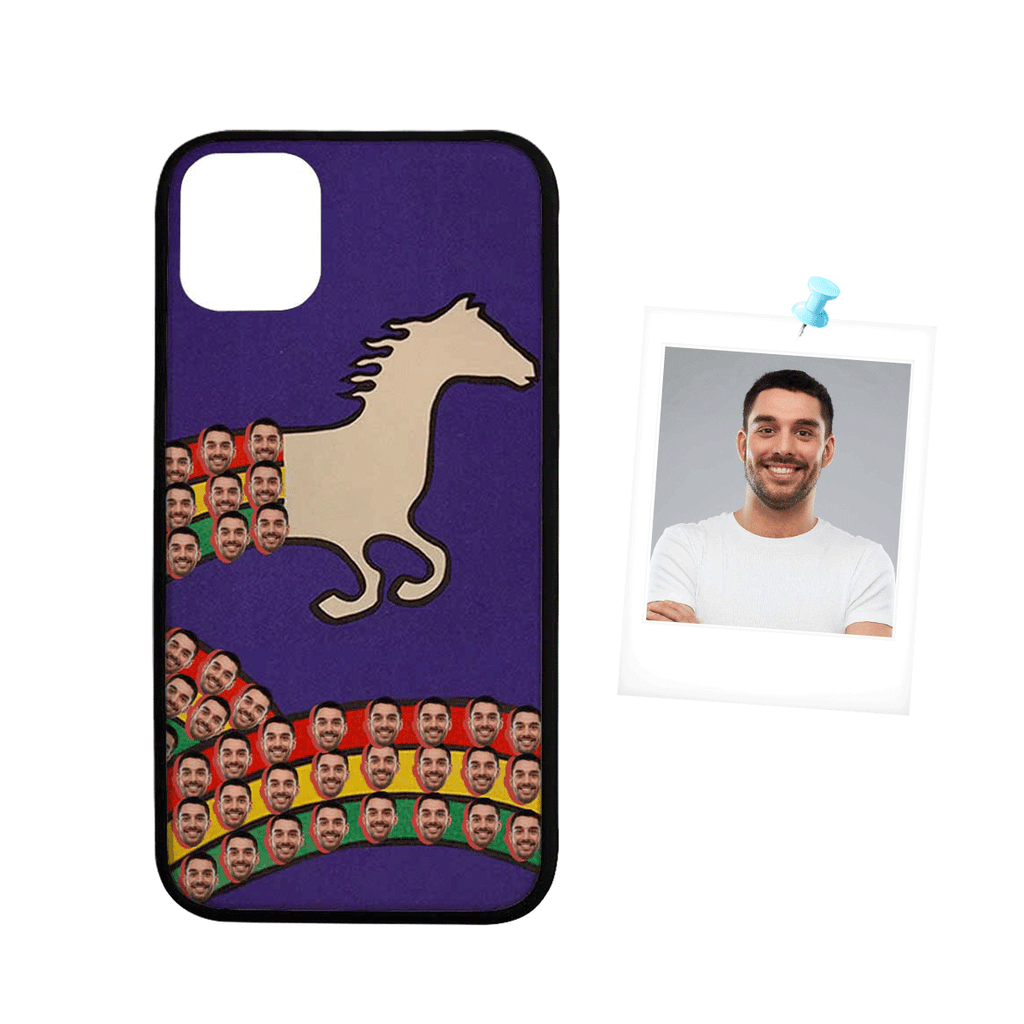 "Custom Face Horse Colorful Stripes Rubber Case For Iphone 11 Pro(5.8"")/11 (6.1"")/11 Pro Max (6.5"")"