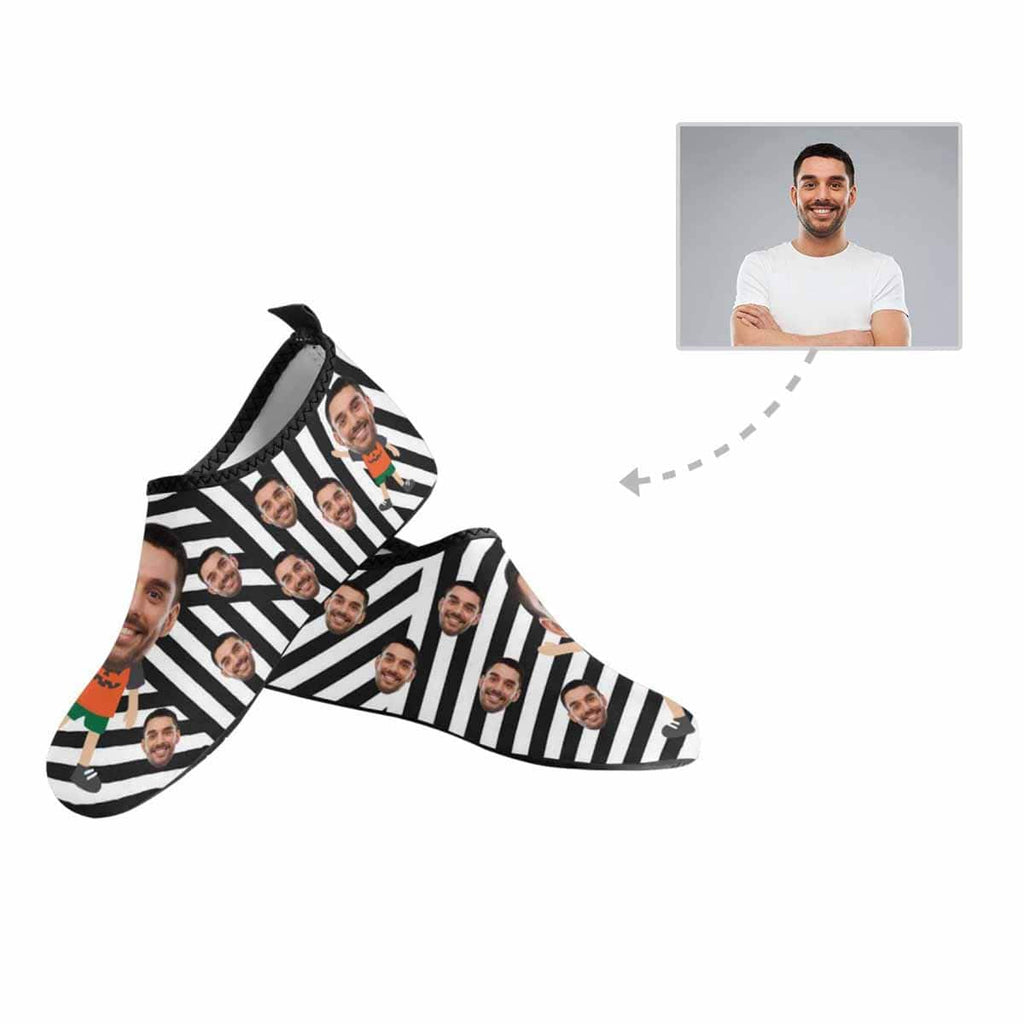 Custom Boyfriend Face Black White Stripes Women's Barefoot Aqua Shoes