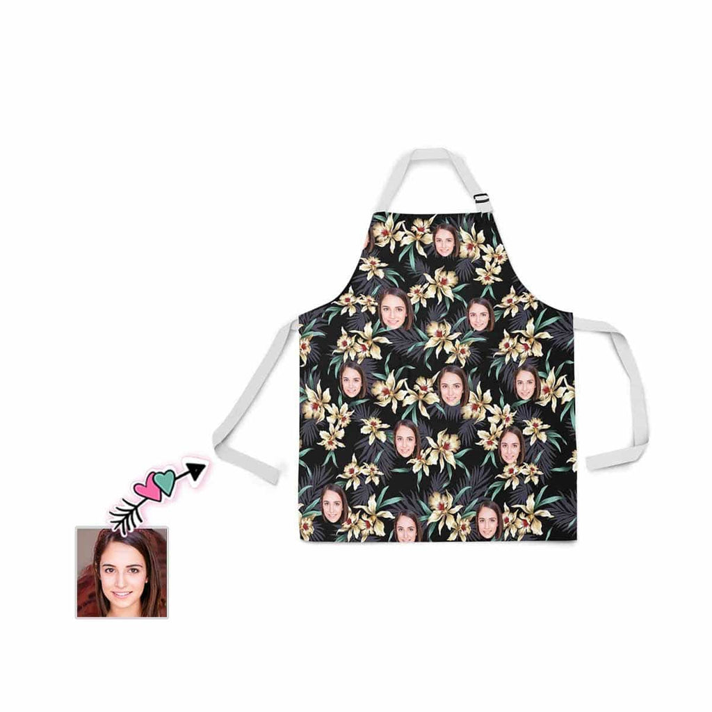 Custom Face Flower All Over Print Adjustable Apron