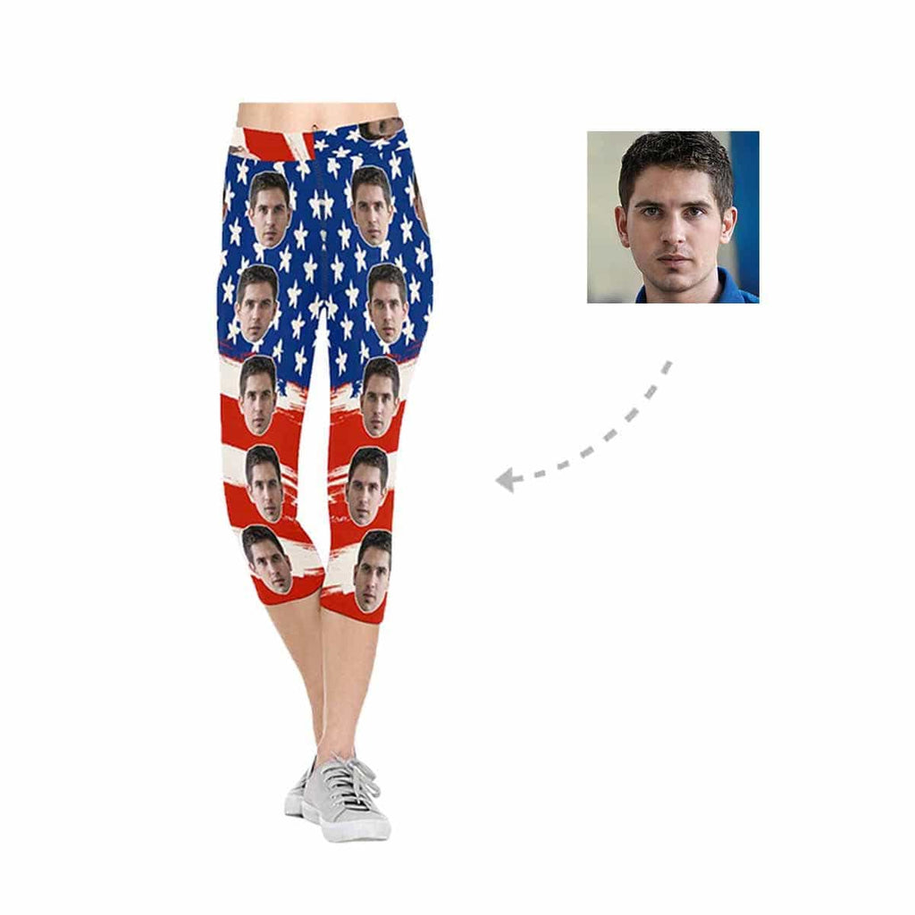 Custom Face American Flag All-Over Low Rise Capri