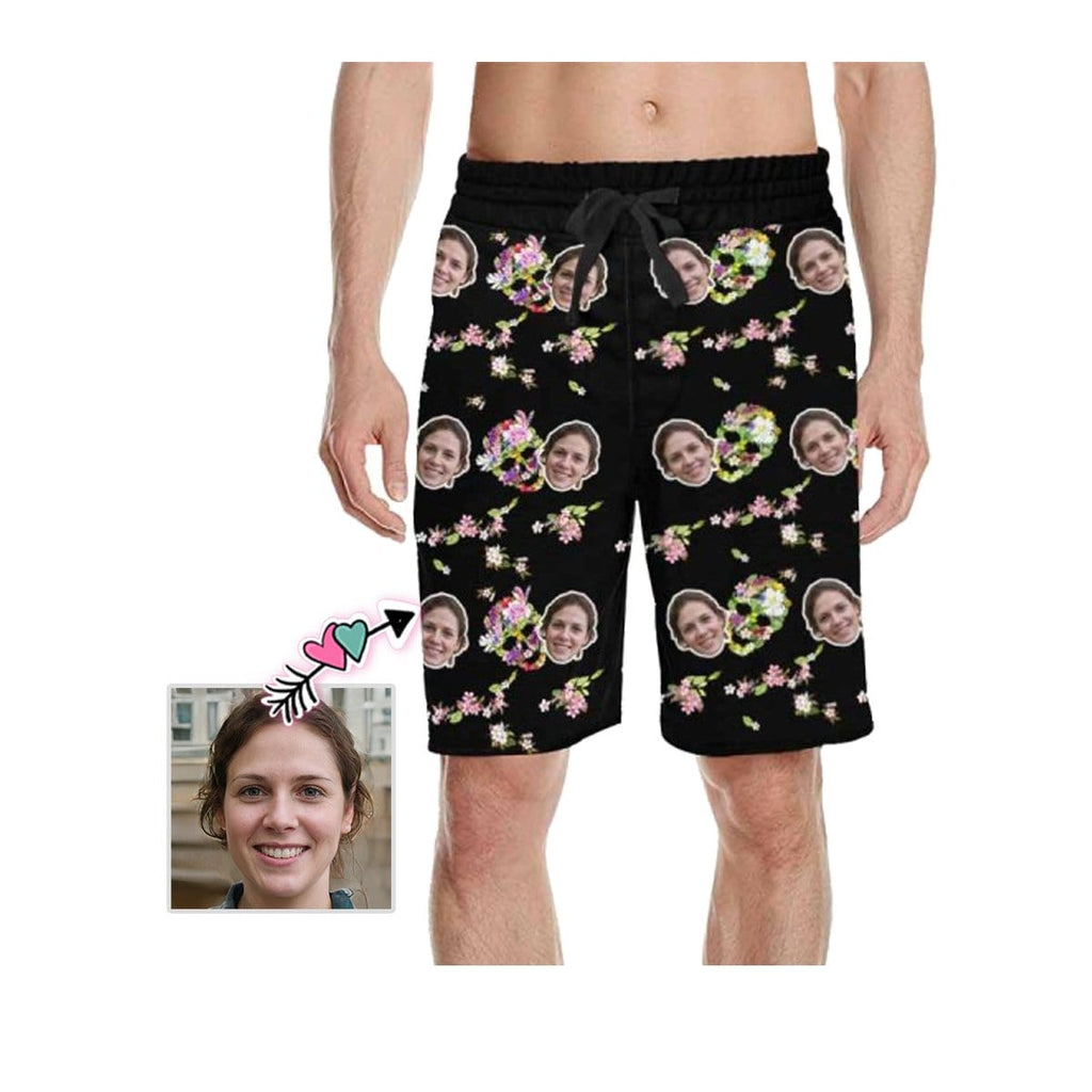 Custom Face Flower Skull Men's Casual Shorts