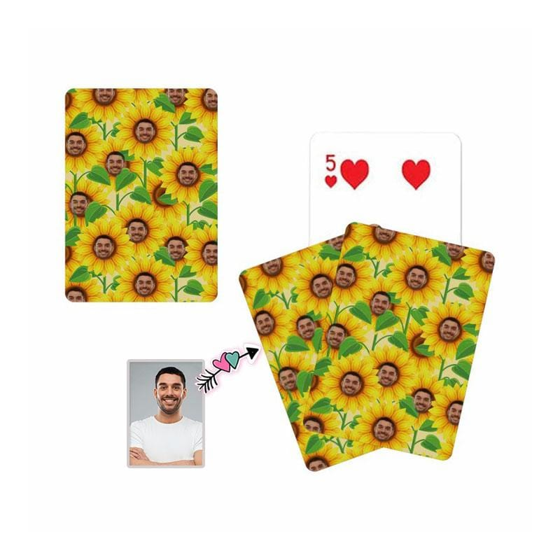 Custom Face Sunflower Playing Cards
