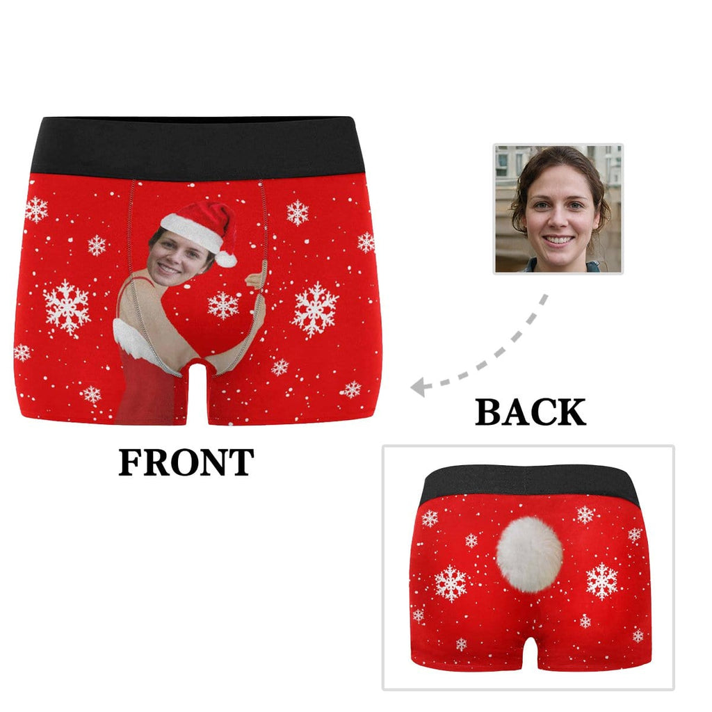 Custom Face Snowflake Tail Men's All-Over Print Boxer Briefs