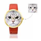 Custom Women's Rose Golden Cat Photo Watch,Red Leather Strap