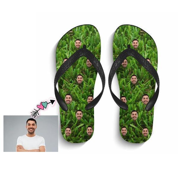 Custom Face Green Flip Flops