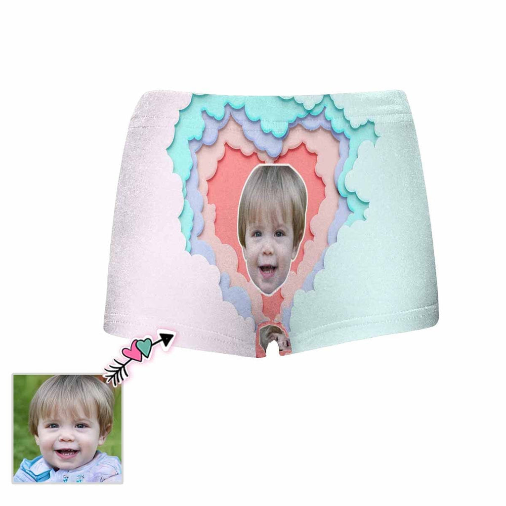 Custom Face Colorful Love Heart Kids' All Over Print Boxer Briefs