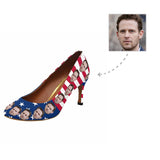 Custom Face American Flag Women's Pumps