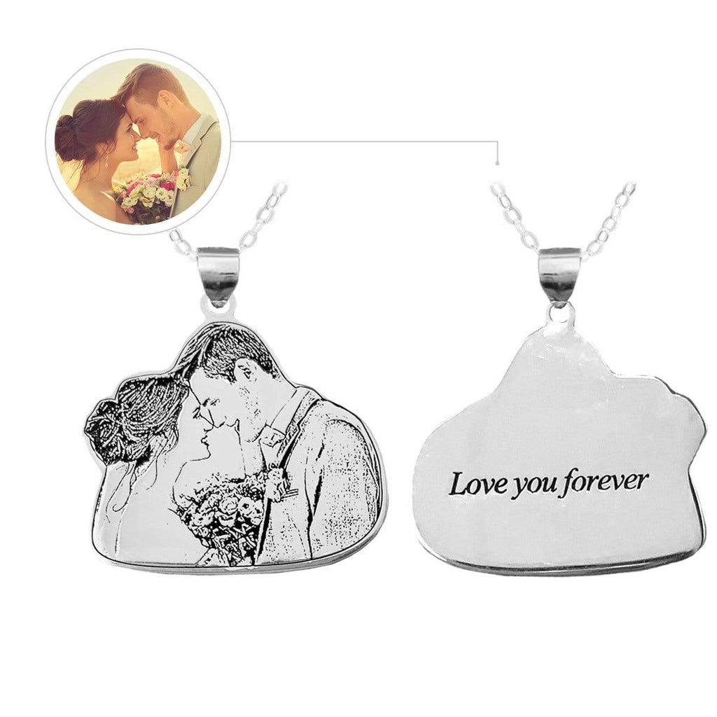 Photo Lovers Engraved Tag Necklace, Photo Necklace, Lovers, For Lovers, Sterling Silver or Titanium Steel.