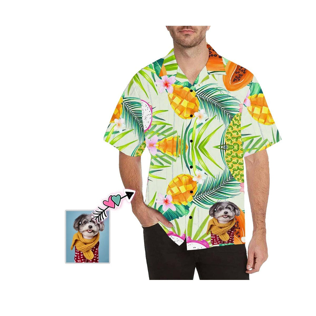 Custom Dog Face Mango Men's All Over Print Hawaiian Shirt