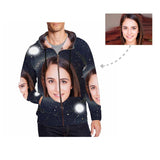 Custom Face Galaxy Men's Full Zip Hoodie