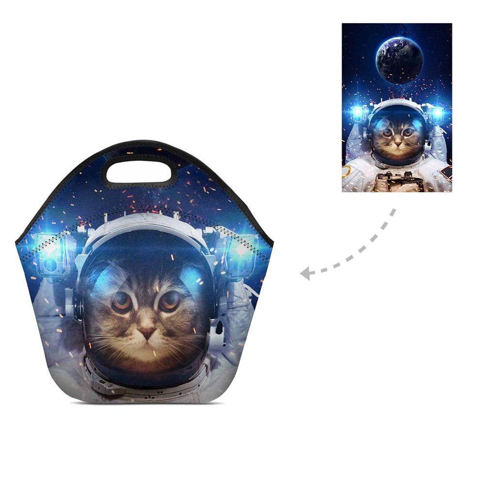 Custom Galaxy Cat Neoprene Lunch Bag
