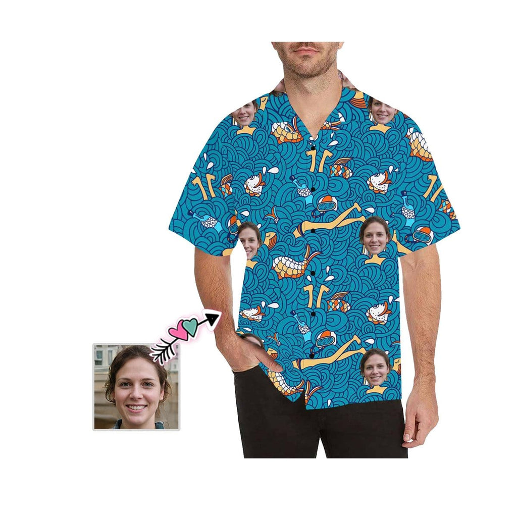 Custom Face Conch Men's All Over Print Hawaiian Shirt
