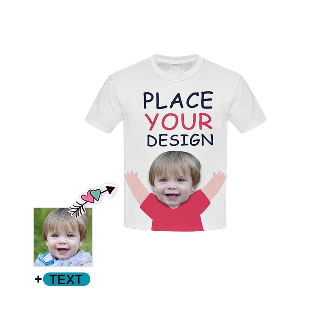 Custom Face&Text Hands Up Kid's All Over Print T-shirt