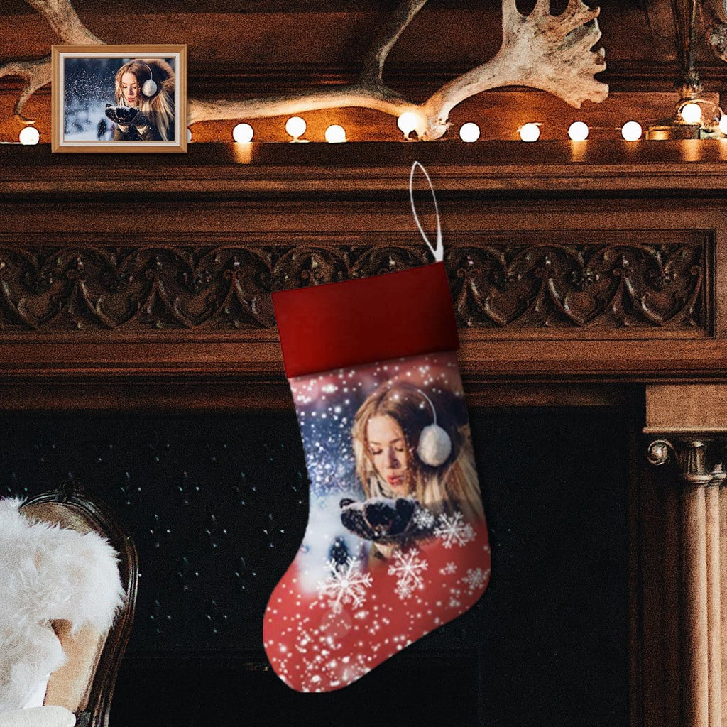 Custom Photo Christmas Snowflake Christmas Stocking