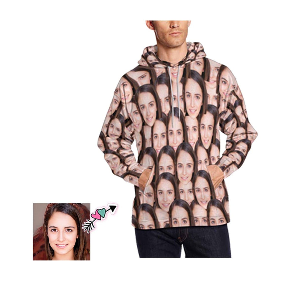 Custom Face Seamless Photo Men's All Over Print Hoodie