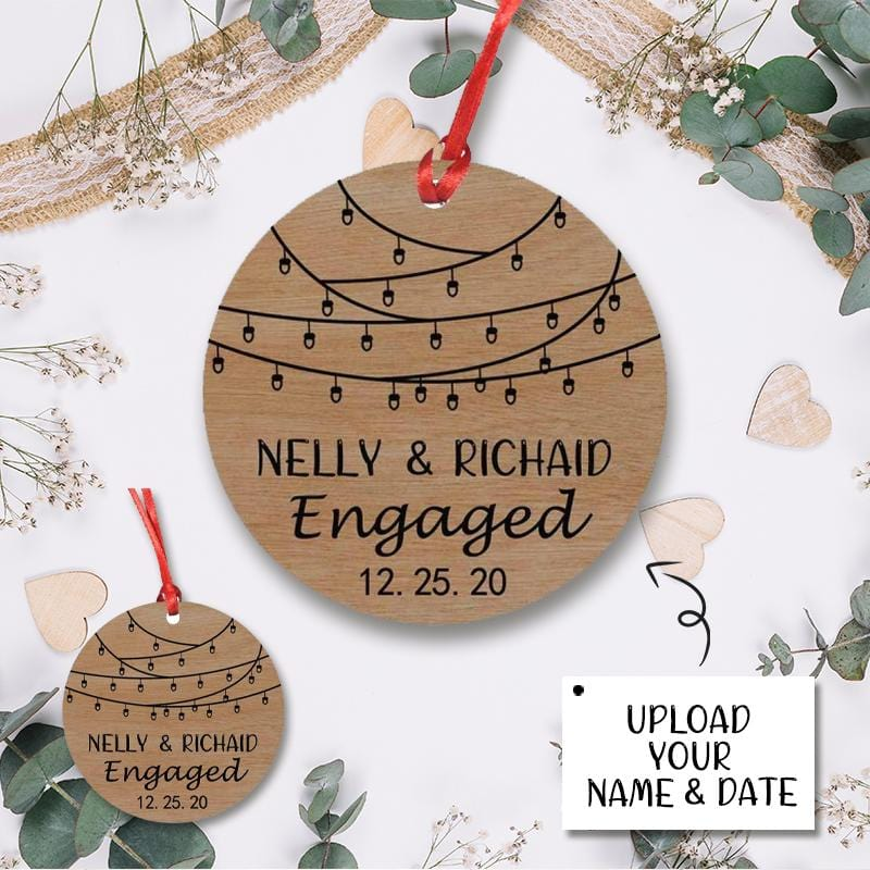 Custom Name&Date Engaged Circle Ornament