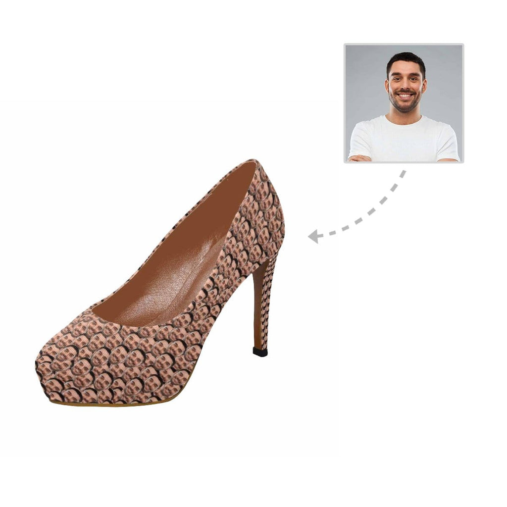Custom Husband Face Seamless Photo Women's High Heels