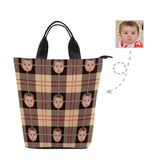 Custom Face Plaid Stripe Nylon Lunch Bag