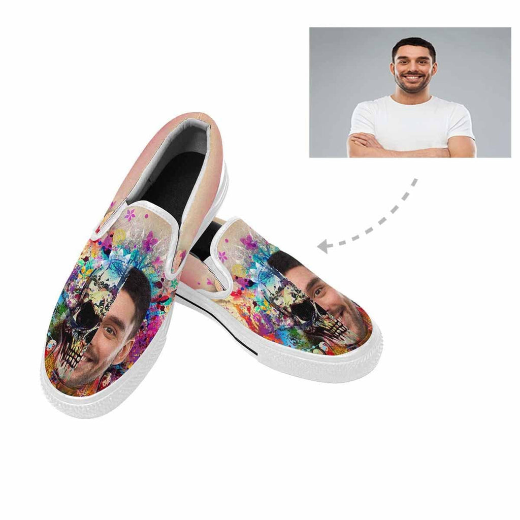 Custom Face Watercolor Skull Slip-on Canvas Women's Shoes