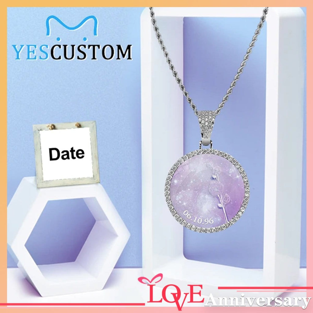 Custom Date Purple Rose Round Silver Photo Pendant with Rope Chain