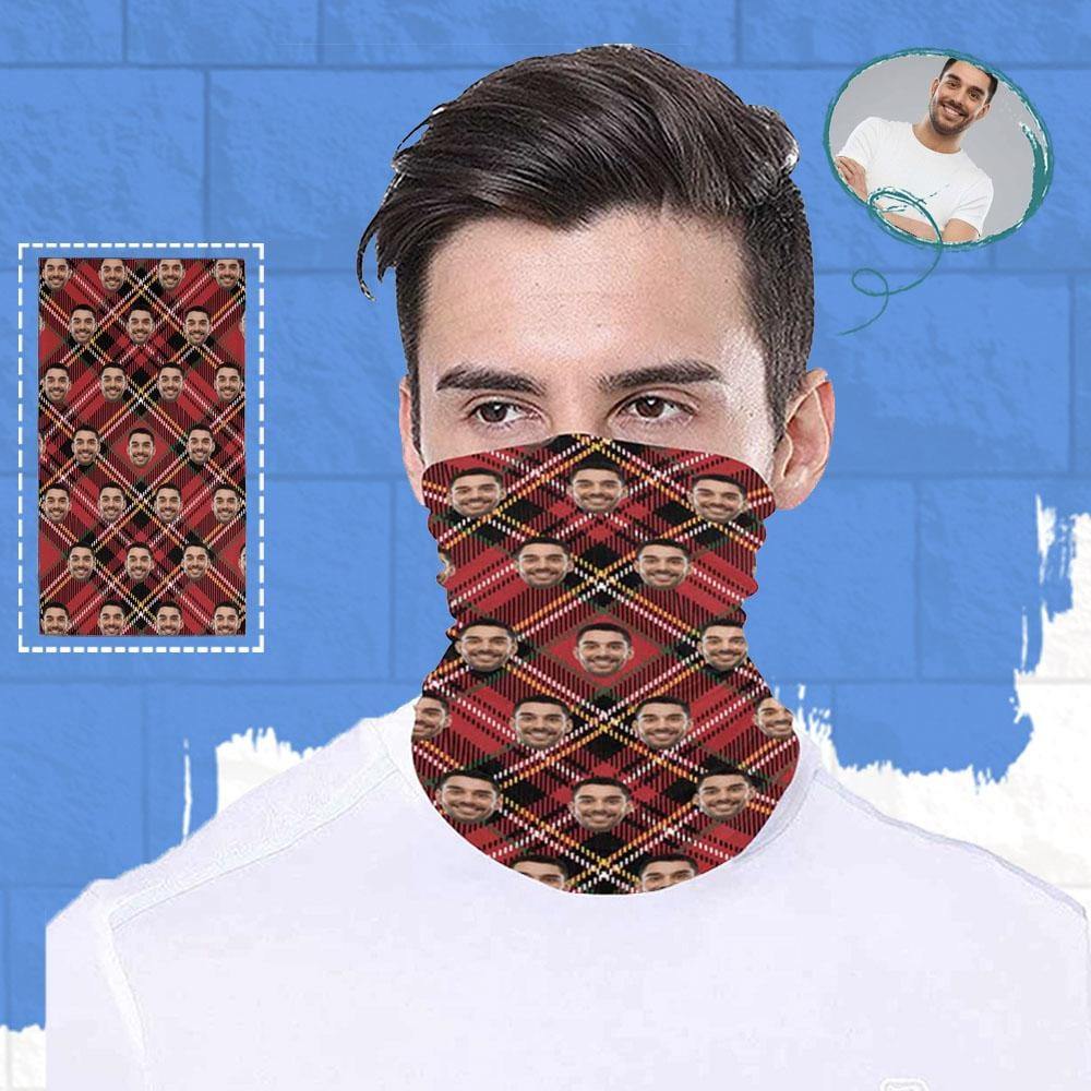 Custom Face Red Grid Multifunctional Bandanas