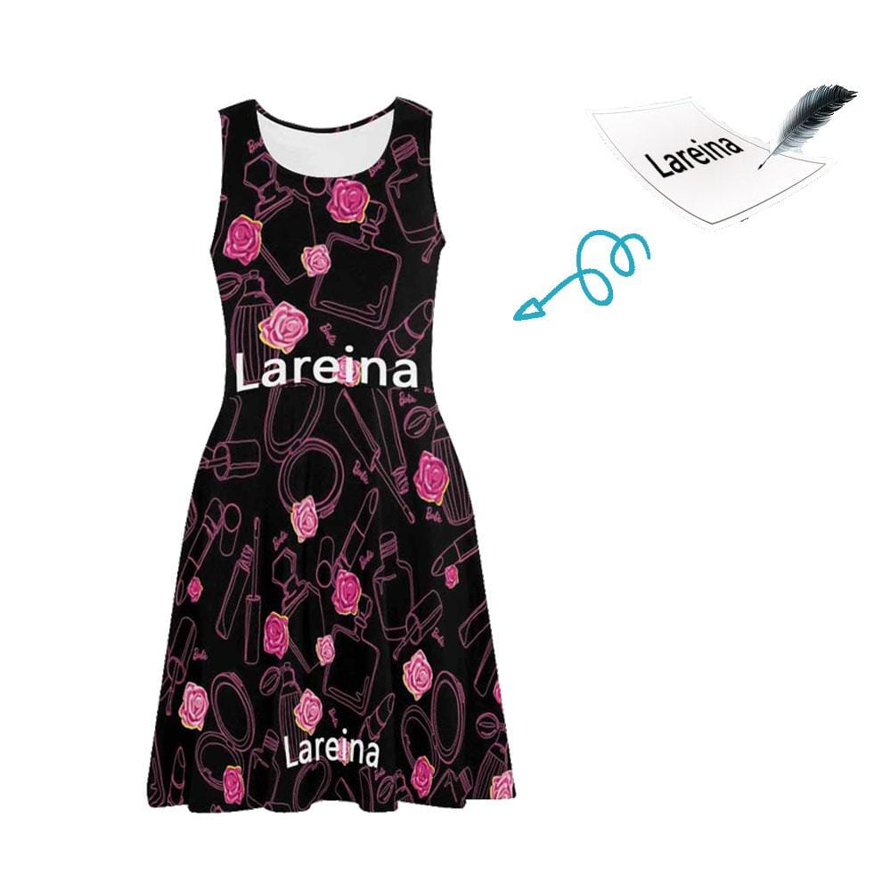 Custom Name Black Floral Roses Casual Sundress