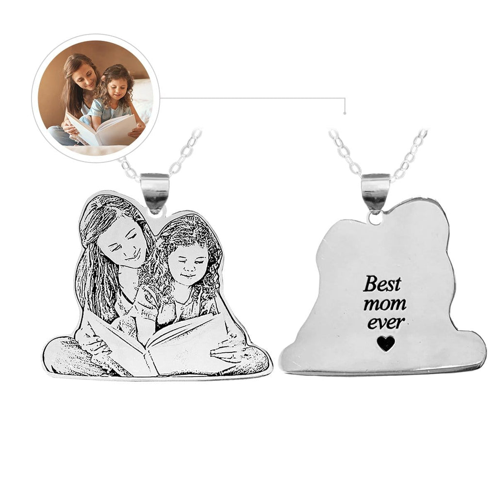 Personalized Mom&Child Photo Engraved Tag Necklace