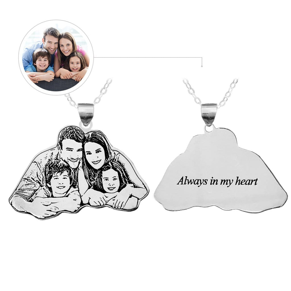 Photo Family Engraved Tag Necklace, Photo Necklace, Family, For Family, Sterling Silver or Titanium Steel.