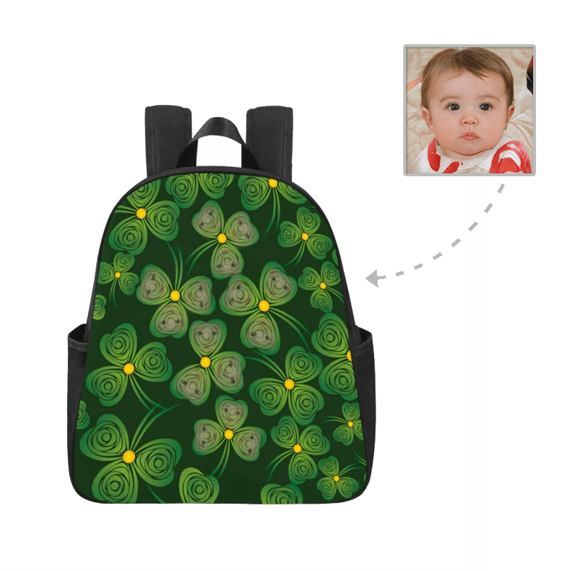 Custom Face Rose Leaves Multi-pocket Nylon Backpack